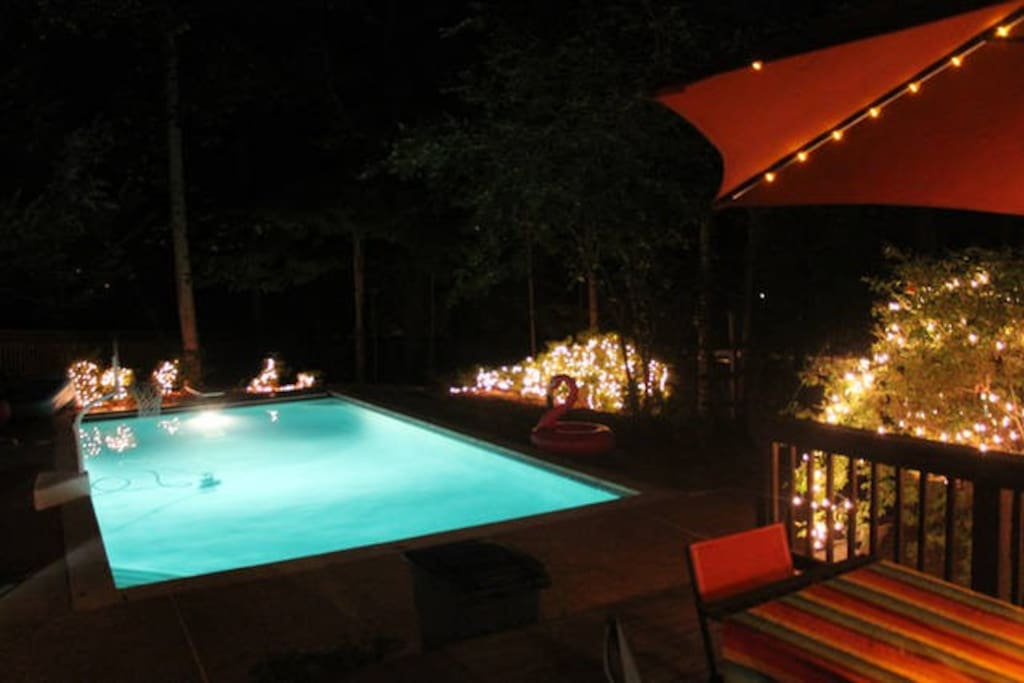 During the summer the pool at night is gorgeous.