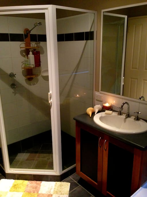 Private bathroom with shower, bath and seperate toilet.