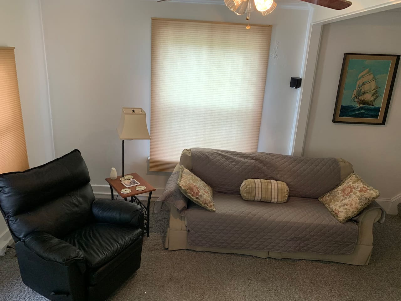 living room -leather chair recliner , couch that has cover that removes for washing, waterproof and sanitary!