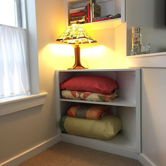 We have extra sheets, a down comforter and even a variety of pillows available to you. We want you to be comfortable. Oh, those books? They are about North Carolina topics or just great reads.