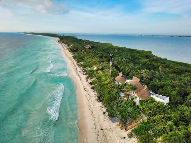 Casa Niños is very private location in the Biosphere with the Lagoon on the right side and the ocean at your feet. Take a tour in the fresh water of the Lagoon, see wild orchids growing amongst the mangroves. This is the place to finally wind down
