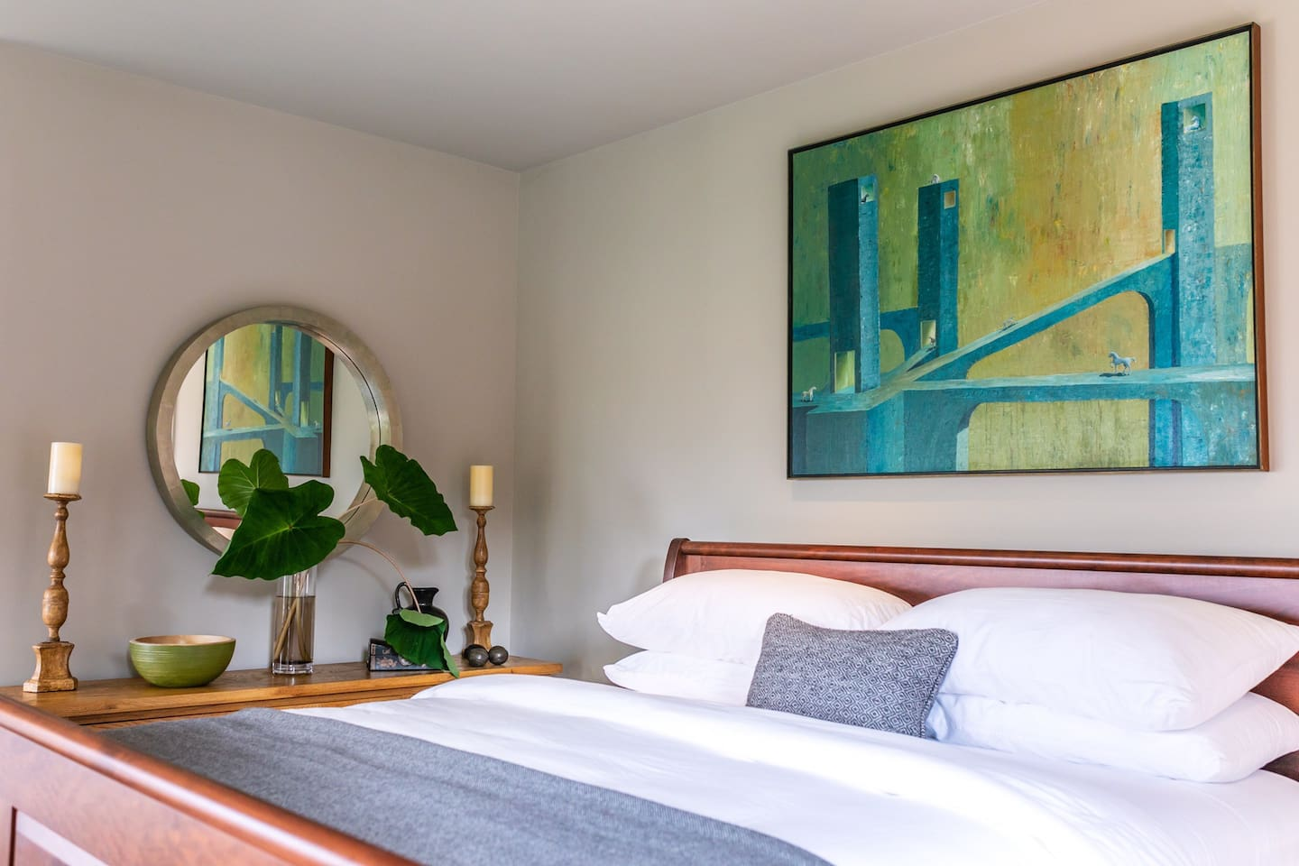City Views offers a generous guest bedroom with luxury king bed, spa-inspired en-suite bathroom, flat-screen smart TV, and wonderful city and courtyard views.