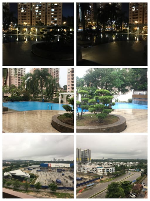 Night view at swimming pool. View from condo, windy with bright sunlight.