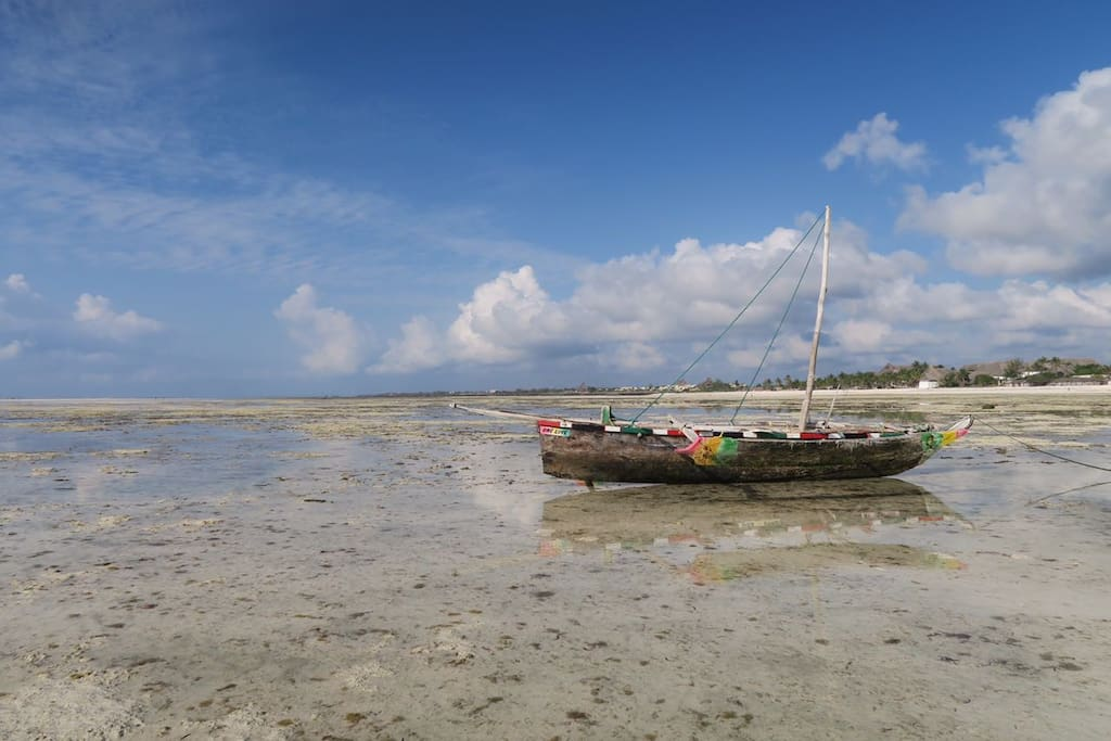 A dau with low tide - you can rent it for wonderful sailing trips