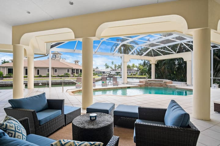 New! Spacious Waterfront Retreat for the Family w/Heated Pool & Spa, WiFi; Watch Dolphins & Manatees