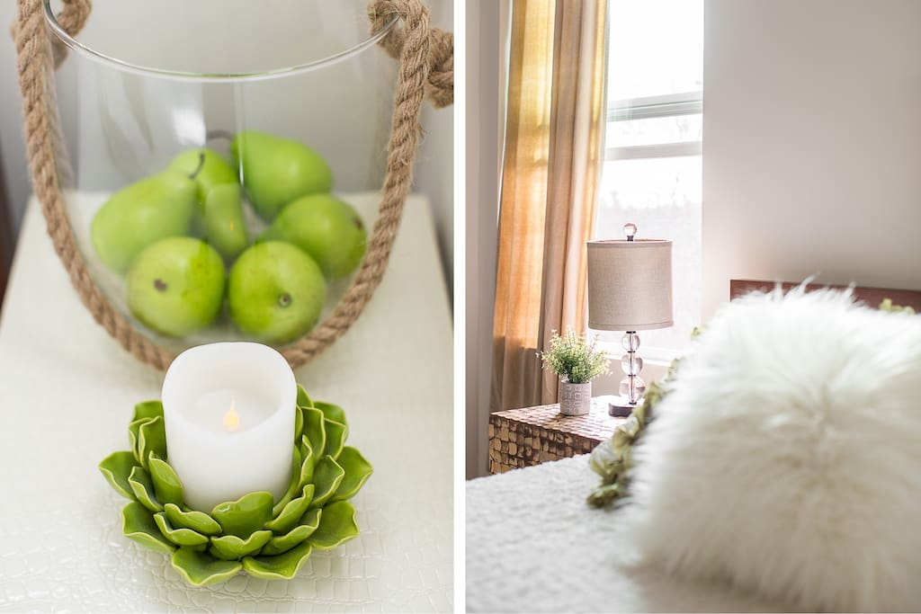 Gorgeous soft lighting for soft moods at night; thoughtful functional decor.