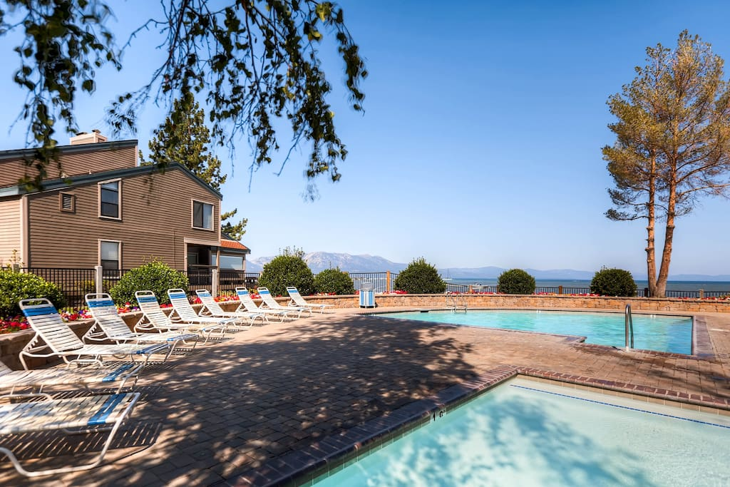 Enjoy a swim with a view at the communal pool and hot tub, less than 100 yards from this rental