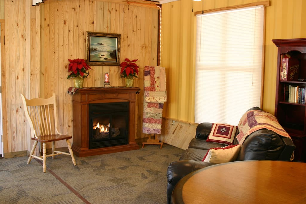 Cozy up for a fireside chat.