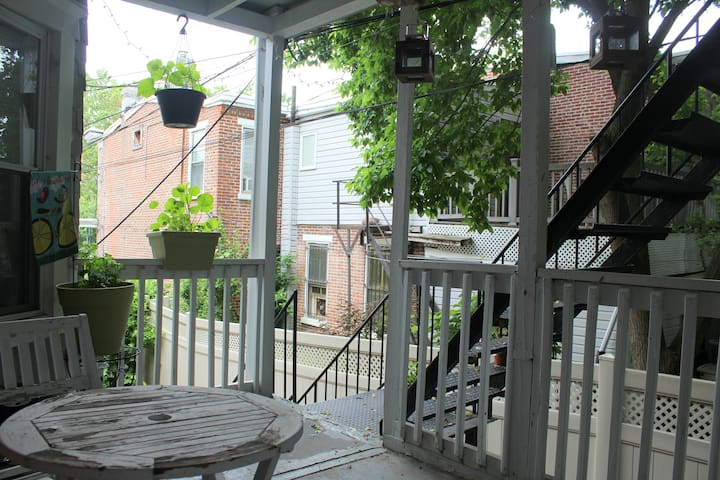 Enjoy the fresh air with your morning coffee or tea on our back porch