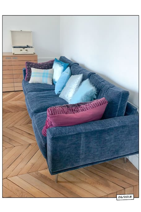 a new sofa in the living-room, the green sofa bed is nowadays in the office