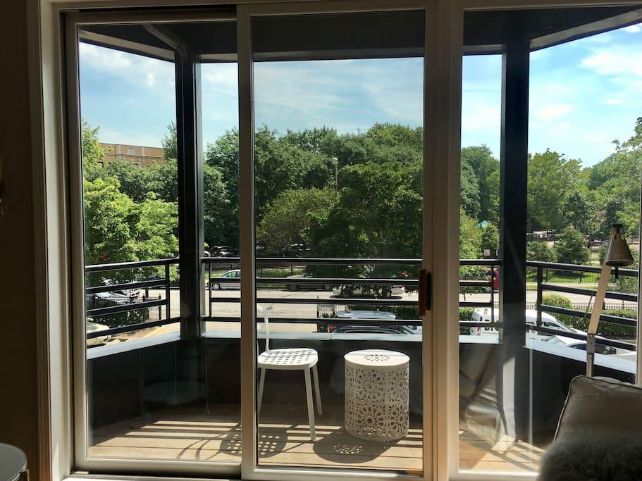 The balcony overlooking Wicker Park