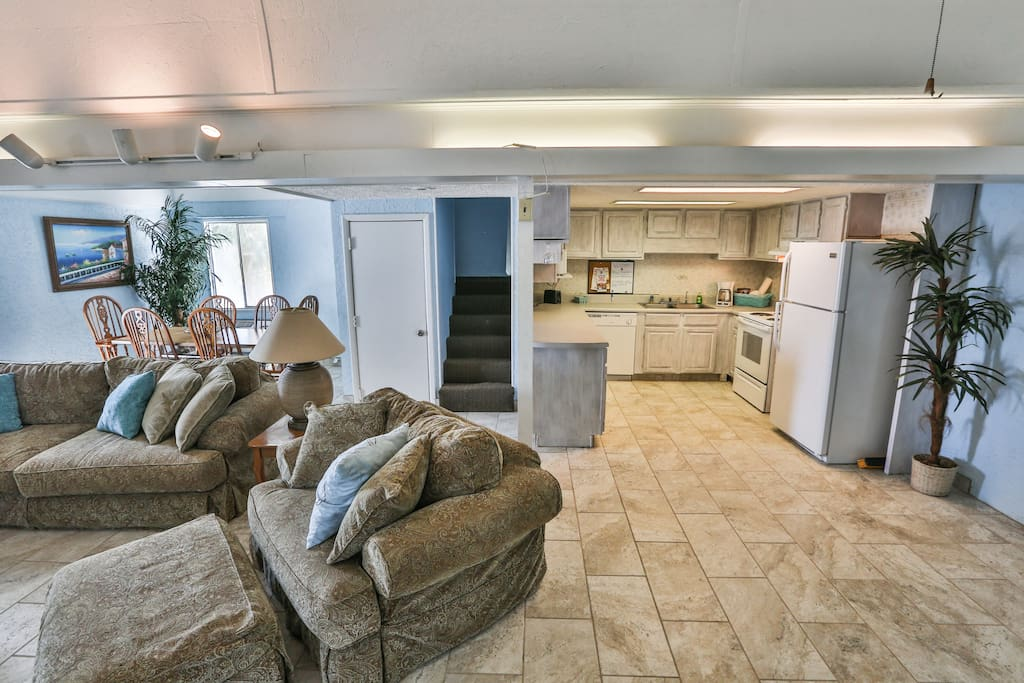 Kitchen and living room. Open floor plan.