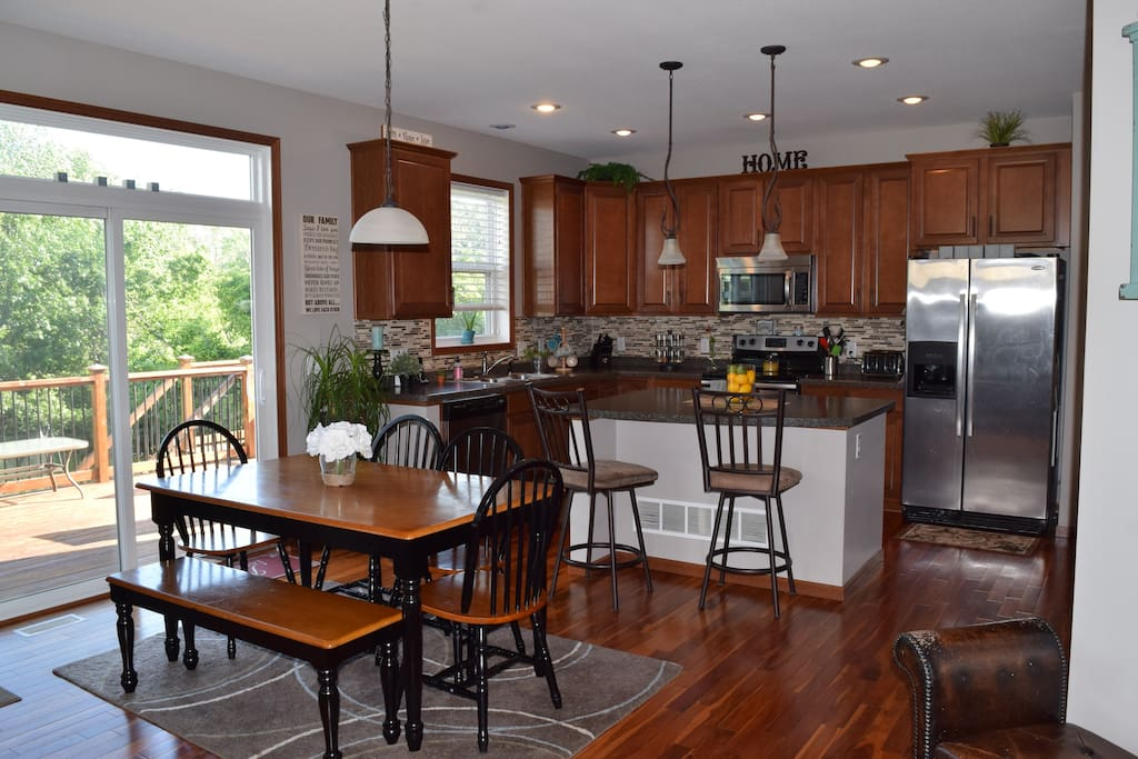 Open kitchen/dining/living room.  Abundance of space to cook, eat and entertain!