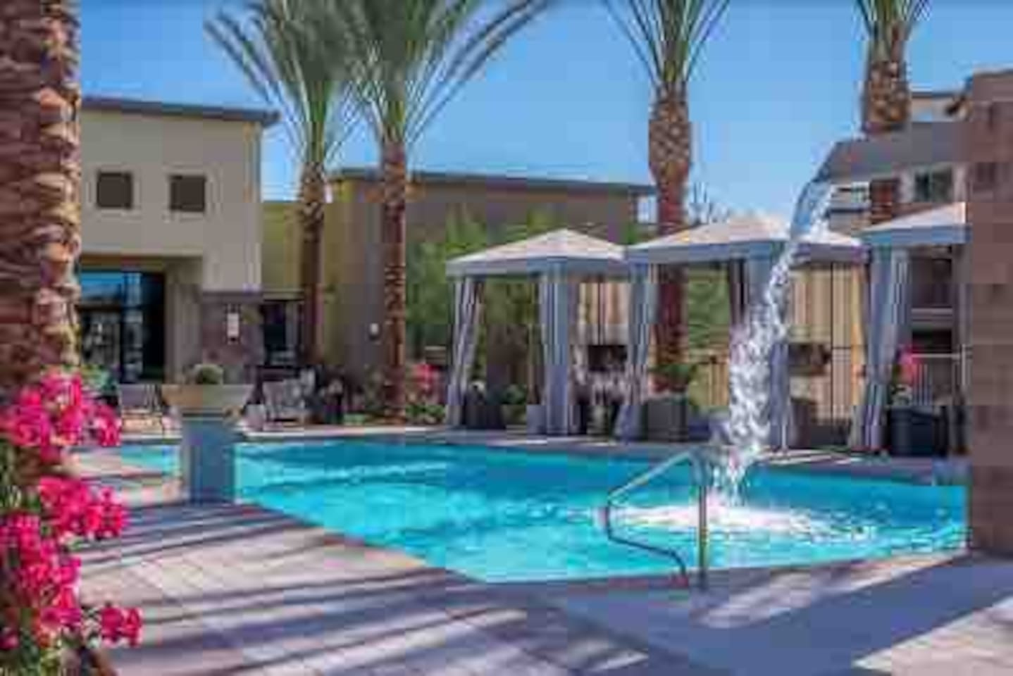 Amazing heated pool for the perfect temperature during the day and night. There is also a hot tub. Located right behind our apartment.