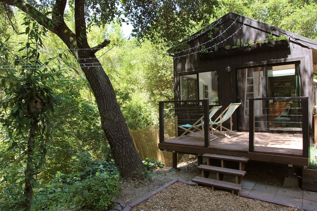 Enjoy a book, glass of wine or some quiet time on the deck overlooking the stream.