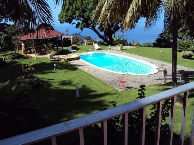 Vue sur le parc - la piscine et la mer depuis l'une des 2 terrasses de Colibri