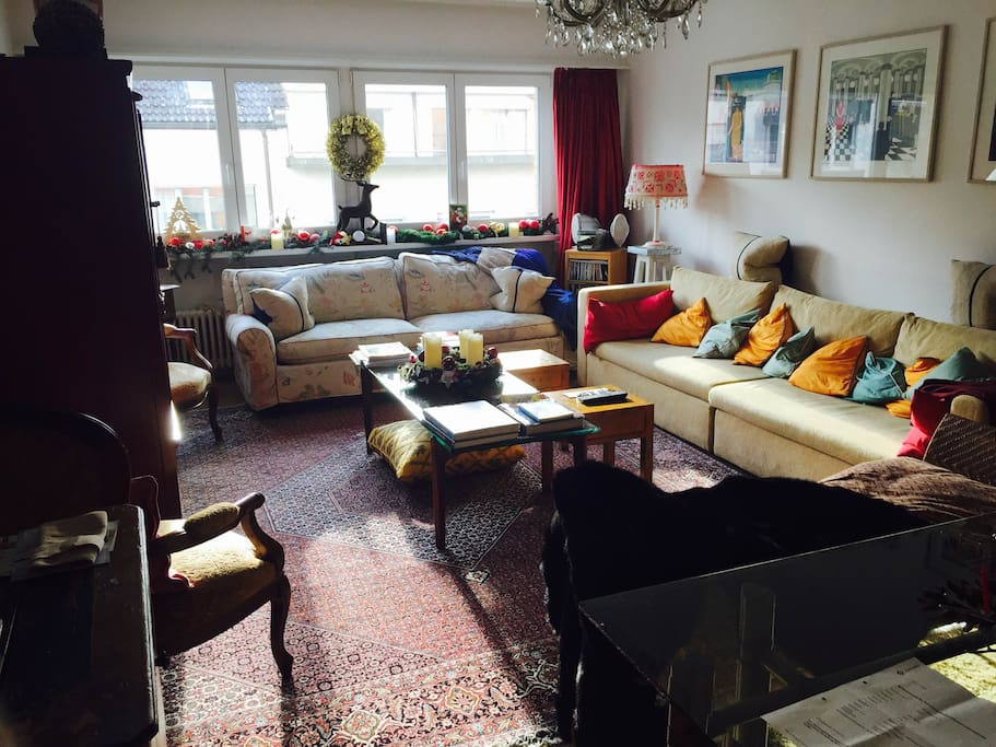 The living room offers space to relax and also a large dining table to work on. It also includes a large pull-out sofa bed.