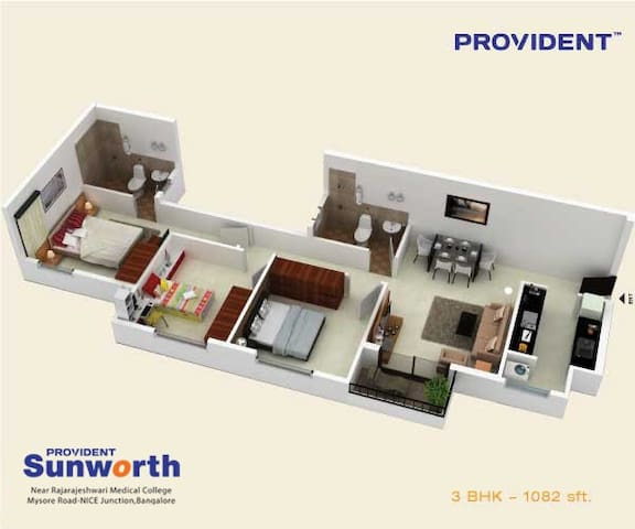 Provident Sunworth 3BHK rental