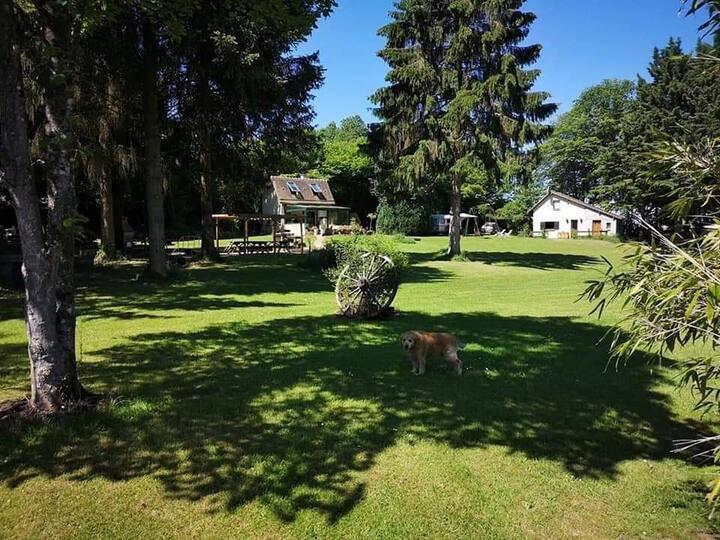 Maison avec étangs sur terrain de loisirs privée