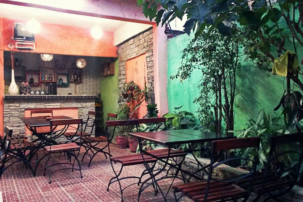 The beautiful private courtyard where guests can sit back and enjoy their meals