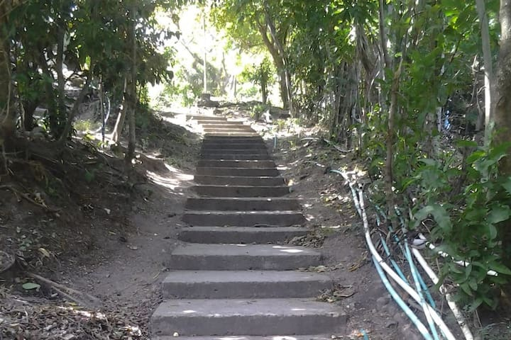 Stairs to the huts