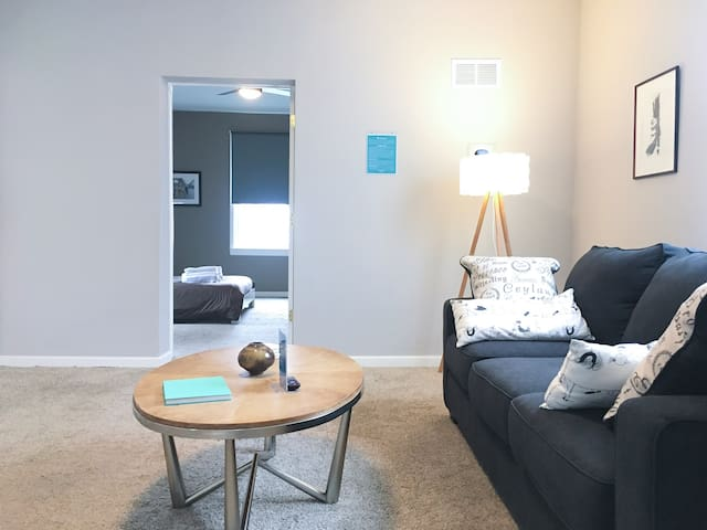 """Spacious and modern private apartment.  The living area leads to a cozy and quiet bedroom with full/double size bed (54"""" x 75"""")"""