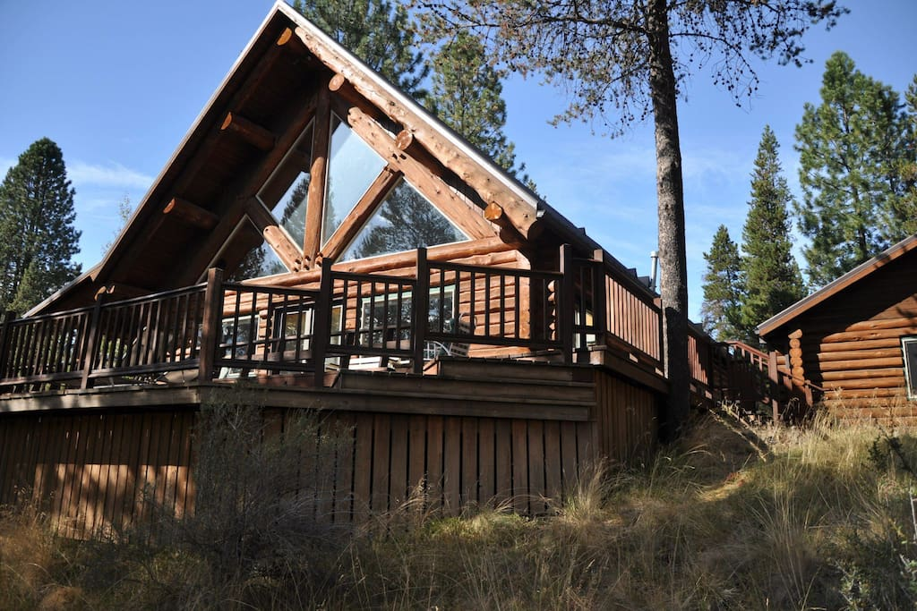 Rustic log cabin chalet in affitto a bend oregon stati for Persiane delle finestre di log cabin
