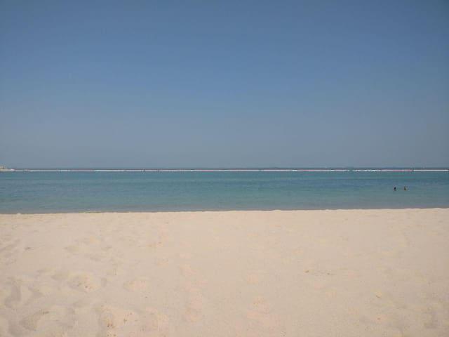 A private beach in five min drive away