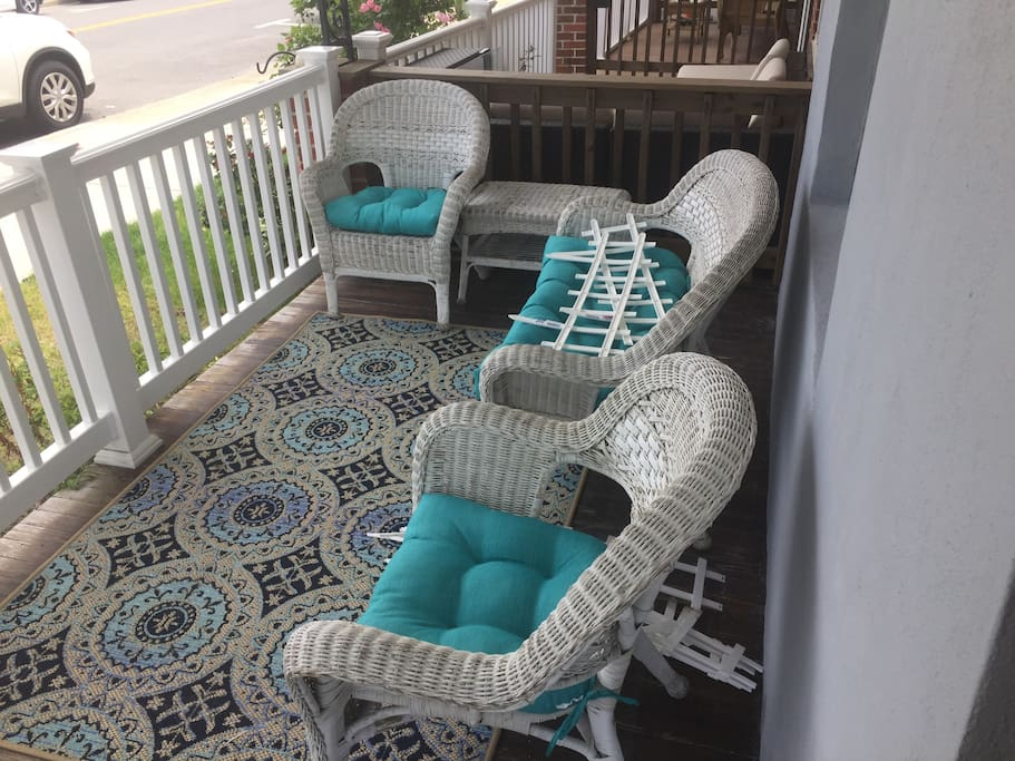 Comfy chairs on front porch- great place to enjoy your morning coffee.