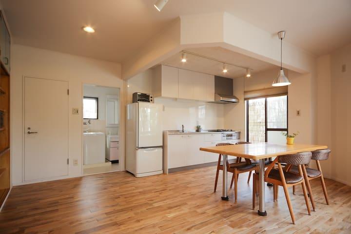 LDK, clean kitchen.