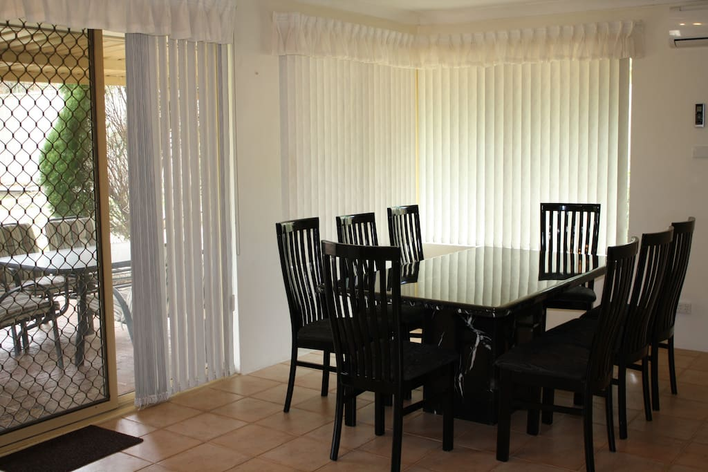 Dining area with marble table
