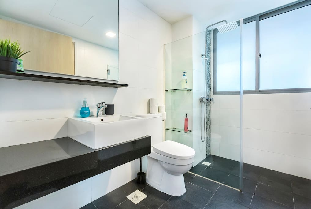 Bathroom w entrance Master Bedroom & Common Area   -Professional photograph snapped in October 2018. Actual apartment may appear slightly more compact to some viewers. All rights reserved.
