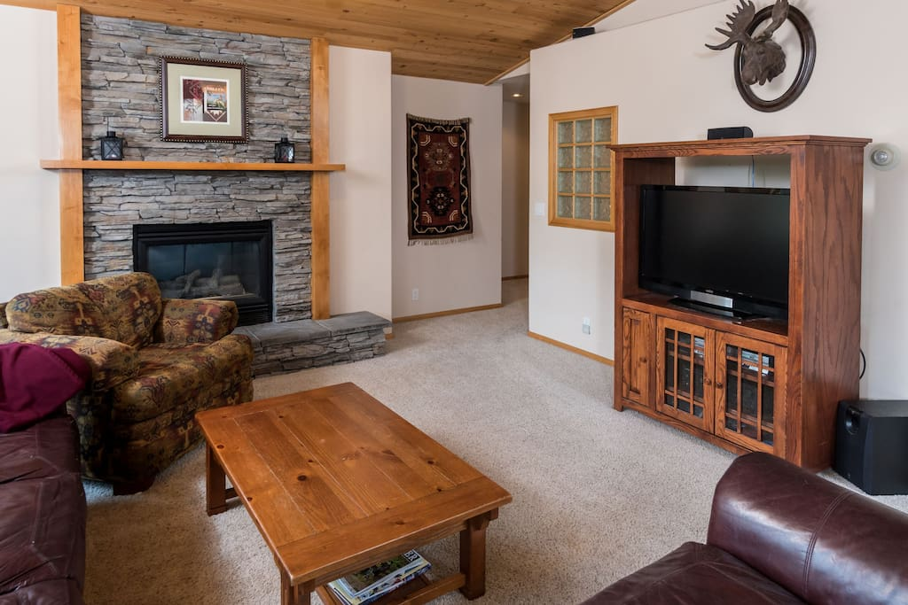 Living room recently upgraded with new HD TV and BlueRay player.