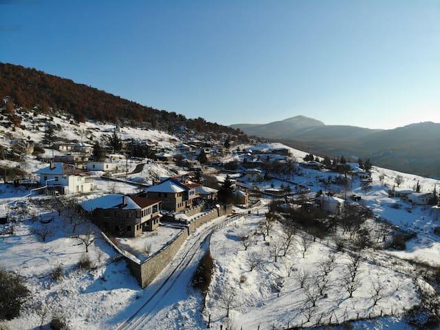Winter times Snow at village Kedrona & Mountains ...