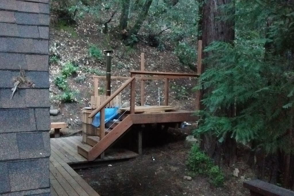 Wood Burning Hot tub, view from main deck