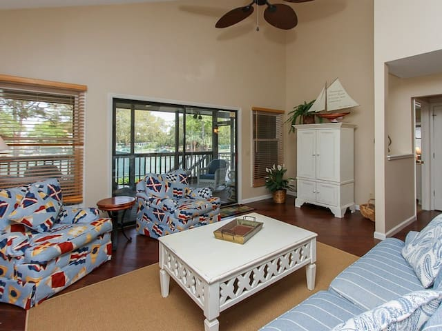 Living Room with Back Deck Access at 6 Beachside