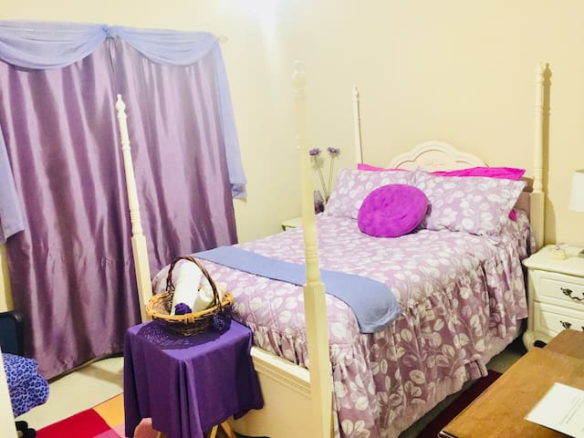 The guest room with full sized pillow top bed...
