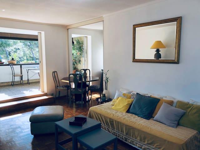 Salon séjour donnant sur terrasse couverte