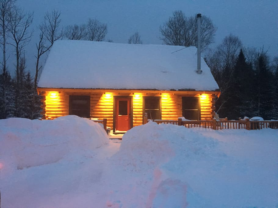 Winter view of the Bear Cabin