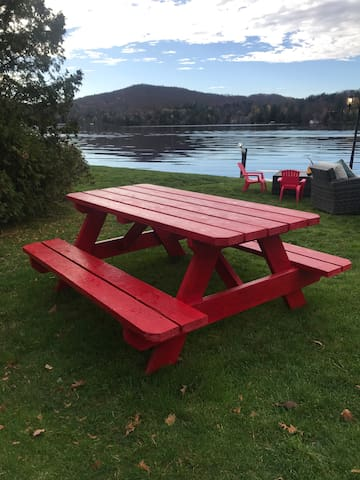 Picnic Table provided at lake front and front entrance area of lodging.