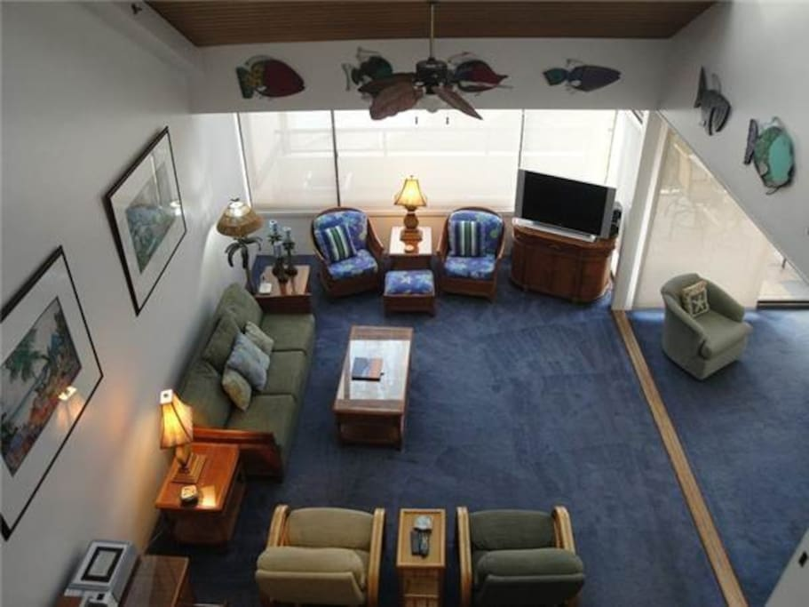Aerial view of living room space
