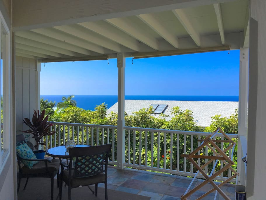 SUITE 1.  Your spacious PRIVATE lanai (patio). Island life... is about enjoying your morning coffee and meals on the lanai... surrounded by tropical bird songs and the sweet smell of Plumeria in the air.