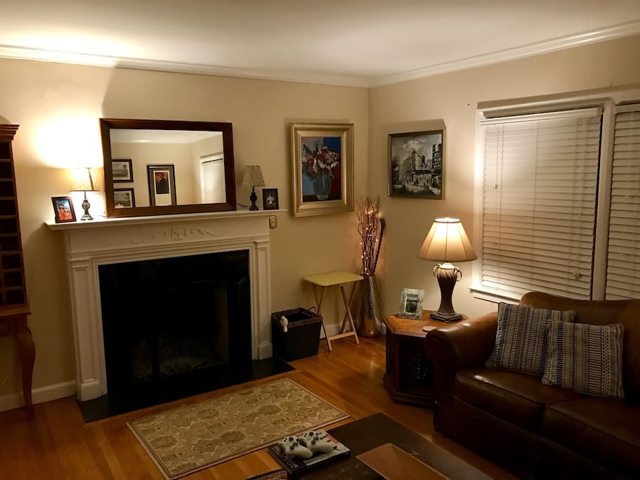 """Living Room - Fireplace and 60"""" TV"""
