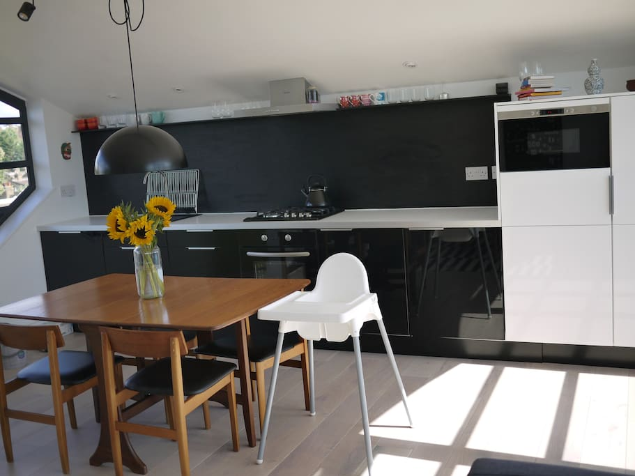 Kitchen includes dishwasher, oven, microwave, gas hobs, fridge, freezer and all the utensils to cook and bake.