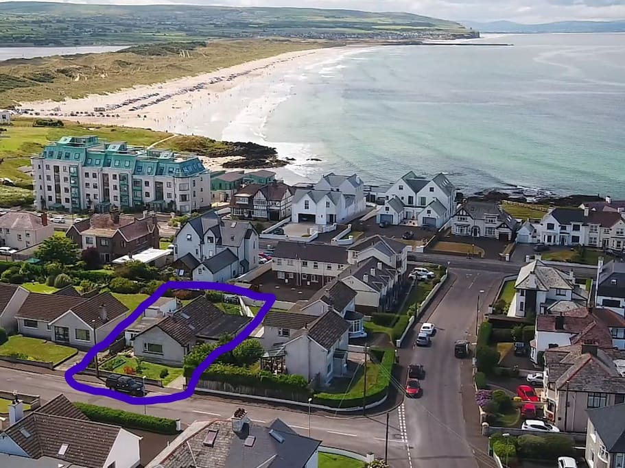 Aerial view of Baileys showing its location near to Portstewart Strand.