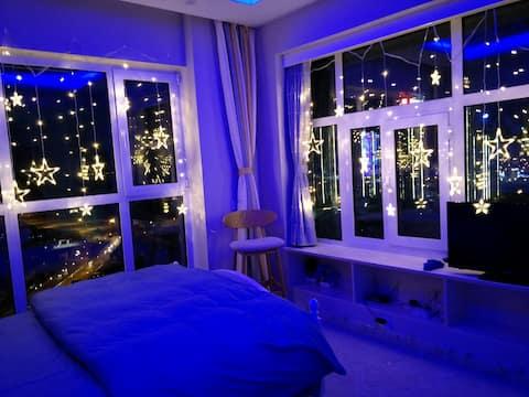 中山广场东港CBD地铁房双落地窗·幻境·海景房·可看海上日出·豪华公寓(可加床可开发票)
