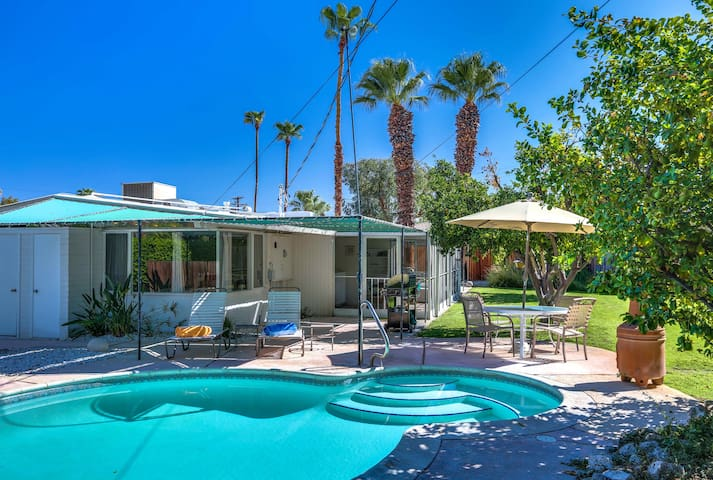 Peaceful Mid Century Modern Pool Home, Private