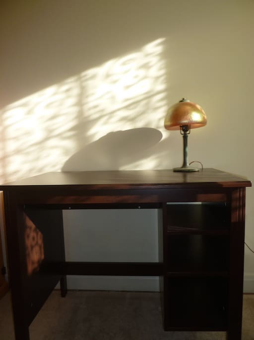 writing desk in bedroom with single/twin bed