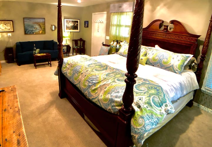 Dragonfly Villa, King Bed Cabin, Walk to Downtown,