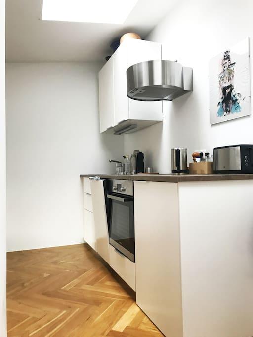 Im Wohnzimmer integrierte moderne Küchenzeile, kaum 1 Jahr alt, mit Spülmaschine, Herd, Ofen, Toaster, Wasserkocher, Kühlschrank